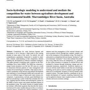 Socio-hydrologic model in Australia.